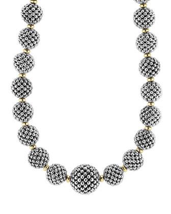 Sterling Silver Caviar Lattice Ball Necklace, 17