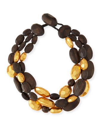Triple-Strand Wood and Gold Necklace