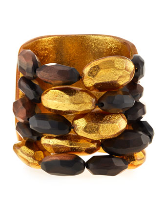 Tiger Wood and Gold Bead Cuff Bracelet