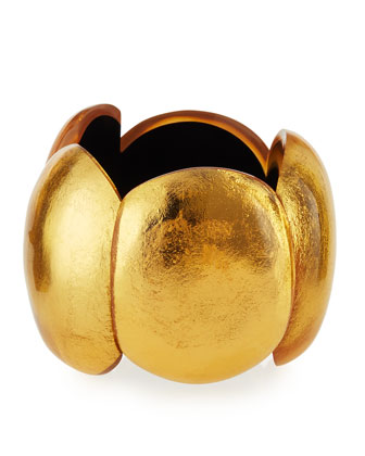 Gold Foil Oval Stretch Cuff Bracelet