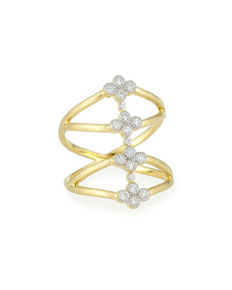 Provence Four Quads Diamond Crisscross Ring