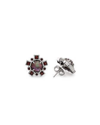 Verona Triplet Garnet Stud Earrings