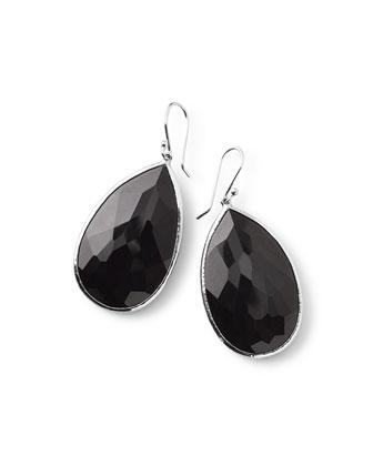 925 Rock Candy Large Pear Earrings in Onyx
