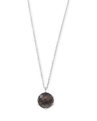 925 Rock Candy Large Round Black Shell Pendant Necklace