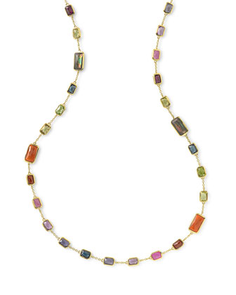 18k Gold Rock Candy Multi-Stone Necklace in Fall Rainbow, 18