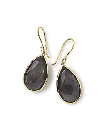 18k Rock Candy Single Teardrop Earrings in Black Shell
