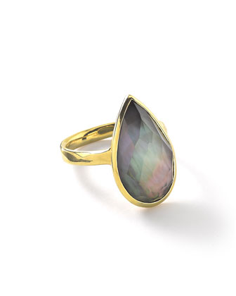 18k Rock Candy Single Medium Teardrop Ring in Black Shell