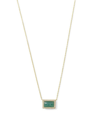 Rock Candy® Small Baguette Pendant Necklace in Green Agate