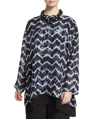 3/4-Sleeve Colorblock Long Tunic, Black/White