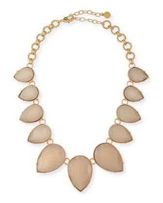 Teardrop Collar Necklace, Golden/Blush