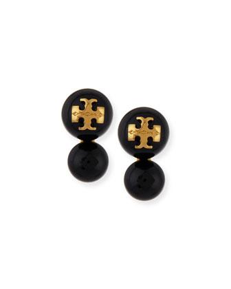 Evie Double Stud Earrings, Black