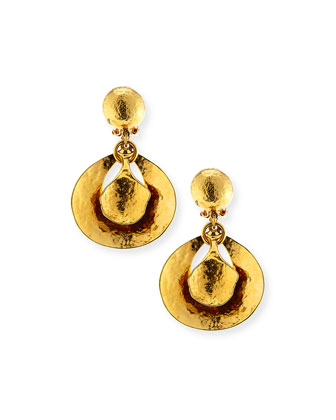 Hammered 24K Gold Drop Earrings