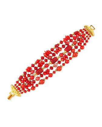 24K Gold Multi-Strand Coral Bracelet