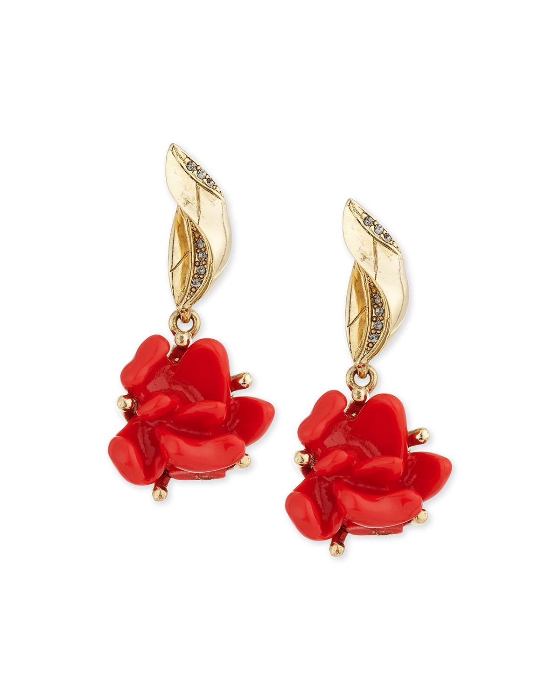 Golden Resin Flower Clip-On Drop Earrings, PERSIMMON - Oscar de la Renta