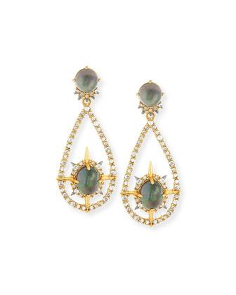 Small Crystal Teardrop Hoop Earrings