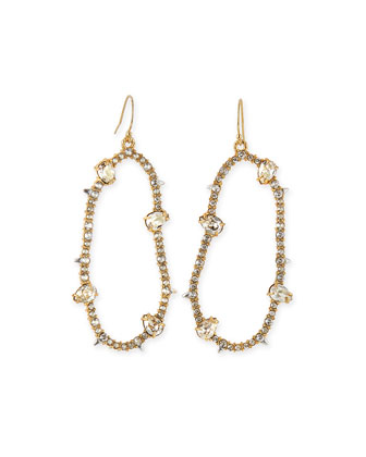 Large Oval Pavé Wire Drop Earrings