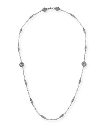 Sterling Etched Dot Chain Necklace, 36