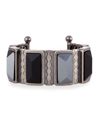 Multicolor Stone Bangle Bracelet, Silver Ox/Jet Black