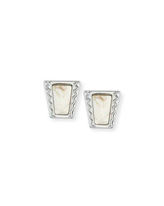 Cabochon Stud Earrings, Silver/White