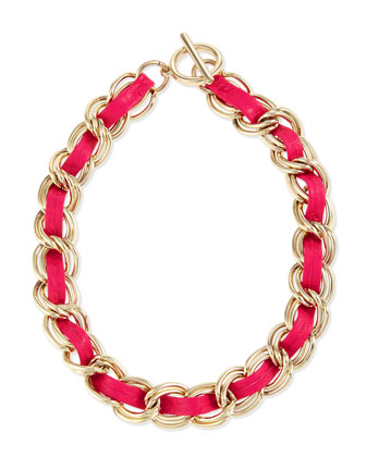 The Hepburn Woven Chain Necklace, Bright Pink