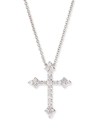Large CZ Cross Pendant Necklace