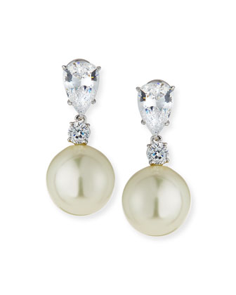 Pear CZ & Simulated Pearl Drop Earrings