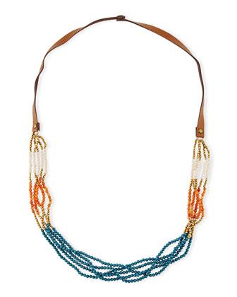 Colorblock Multi-Strand Beaded Necklace, Orange/Teal/Multi, 36