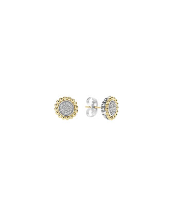 Pavé Diamond Caviar Button Earrings
