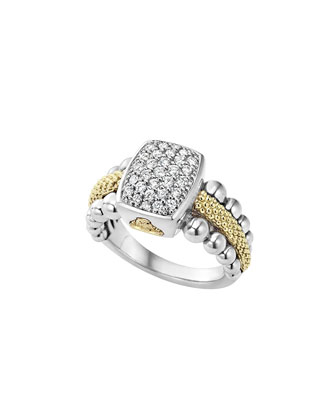 Sterling Silver Caviar & Diamond Rectangle Ring