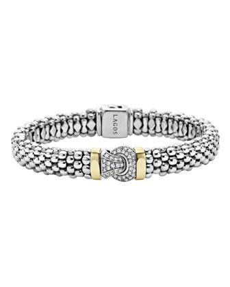 Sterling Silver Caviar & Diamond Rope Bracelet, 9mm