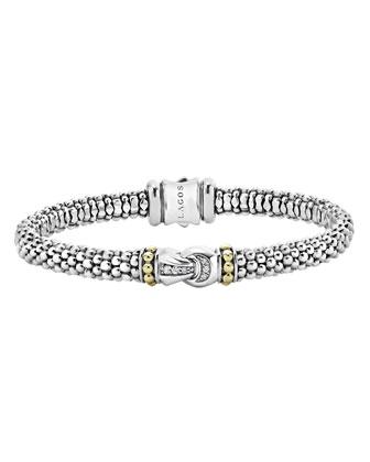 Sterling Silver Caviar & Diamond Rope Bracelet, 6mm