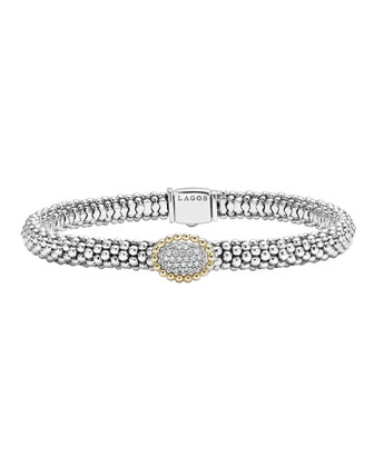 Sterling Silver Caviar & Pavé Diamond Oval Bracelet, 6mm