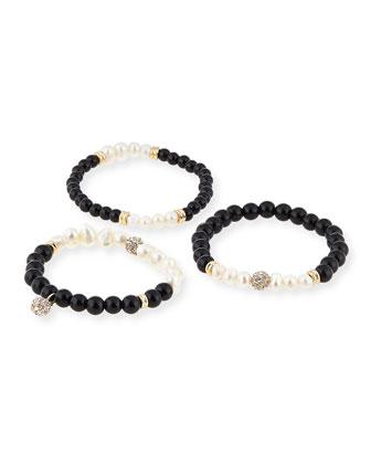 Set of 3 Pearlescent Bracelets, White/Black