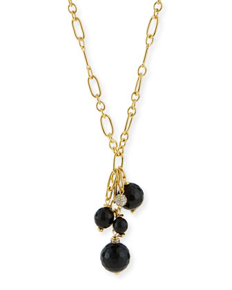 Cluster Bead Y Tassel Necklace, Black