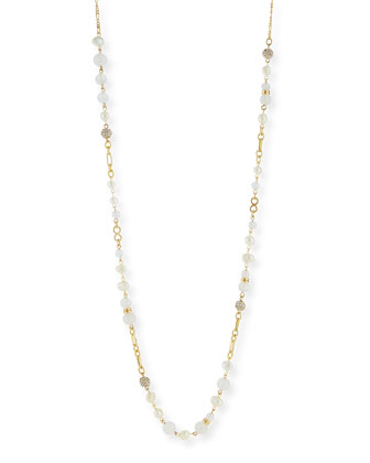 Pearly Crystal Single-Strand Necklace, 45
