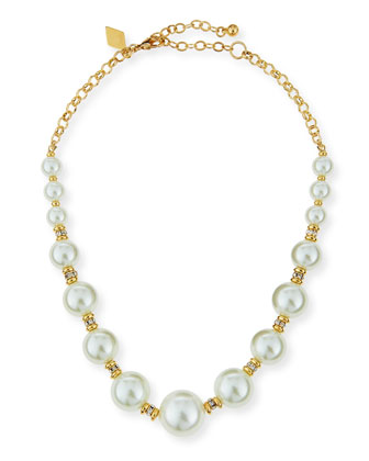 Pearly Beaded Single-Strand Necklace, 16
