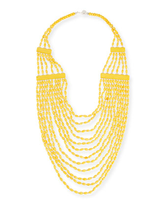 Beaded Multi-Strand Long Necklace, Yellow