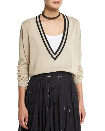 Belted Vest W/Sequined Trim, Butter/Black