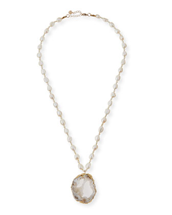 Pearl Necklace with Druzy Pendant, White