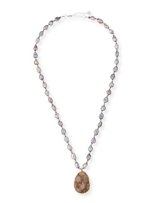 Pearl Necklace with Druzy Pendant, Gray