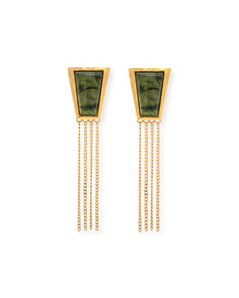 Impose Moss Agate Fringe Earrings