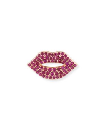 Pavé Ruby Lips Earring