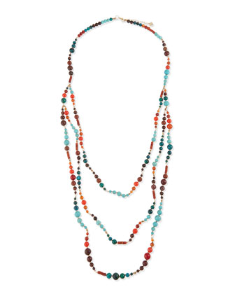 Three-Strand Long Mixed Magnesite Necklace