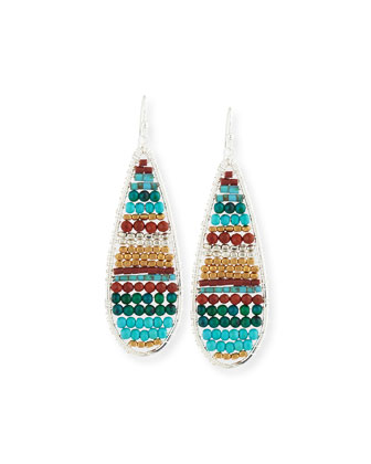 Mixed Turquoise Beaded Drop Earrings