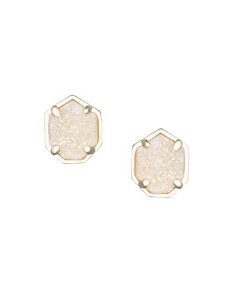 Logan Druzy Button Earrings