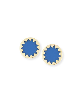 Sunburst Stud Earrings, Blue