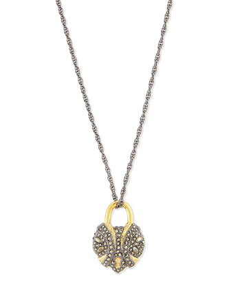 Crystal Padlock Locket Necklace, 32