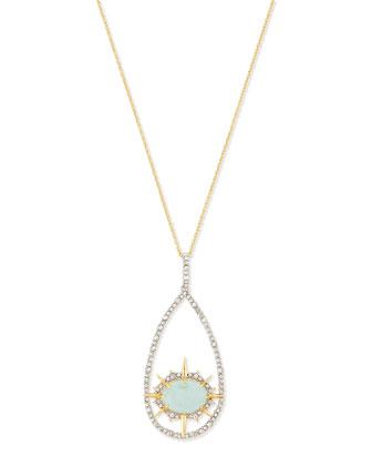 Crystal Open-Hoop Pendant Necklace, Aqua Green