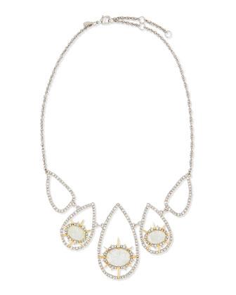 Crystal-Hoop Crackle-Glass Bib Necklace, Aqua Green
