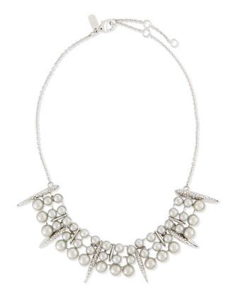 Pearly Pavé Crystal Bar Collar Necklace
